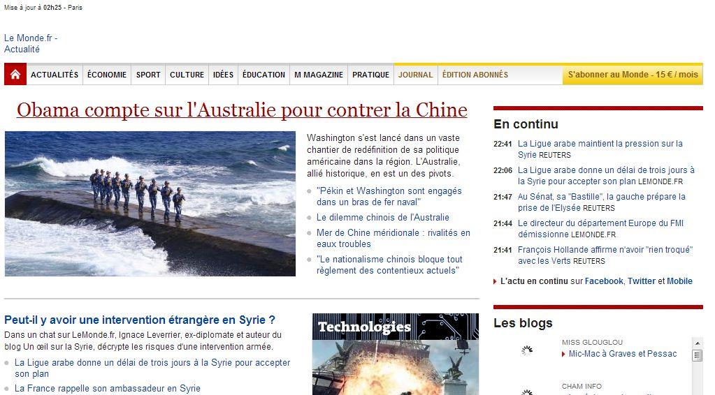 Le Monde, 17 novembre 2011