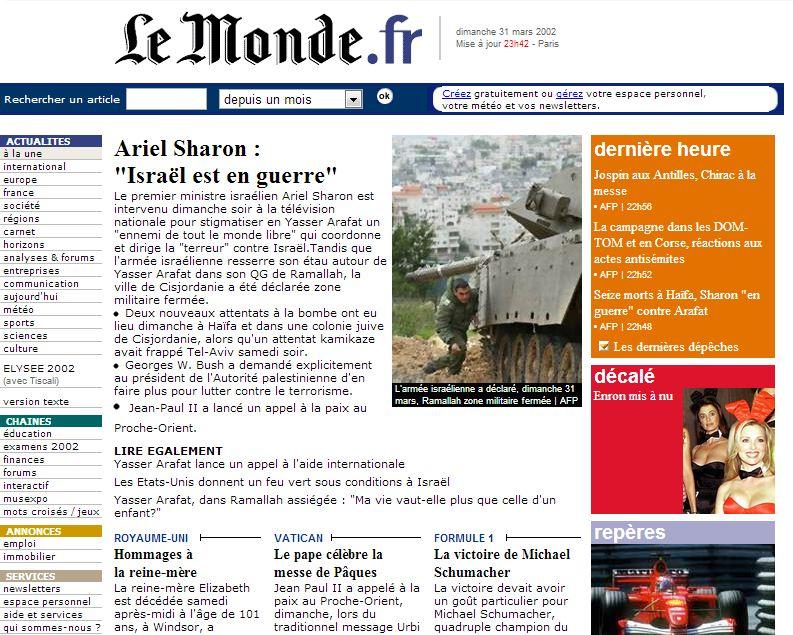 Le Monde, 1er avril 2002