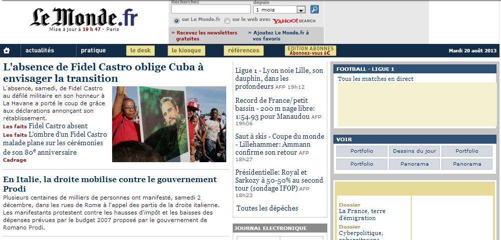 Le Monde, 2 décembre 2006