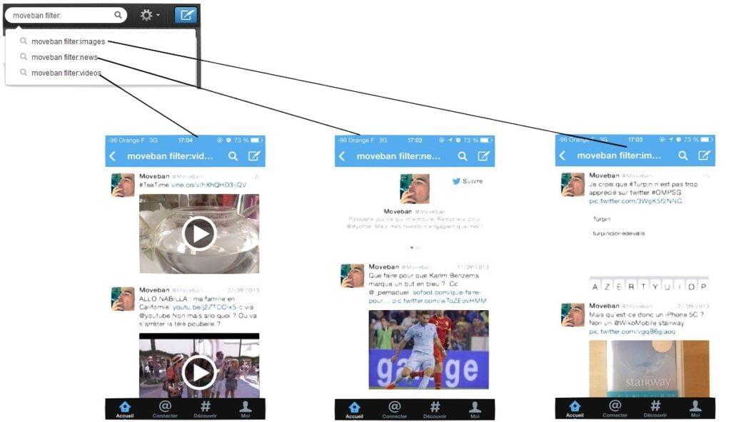 Filtres images, news et vidéos