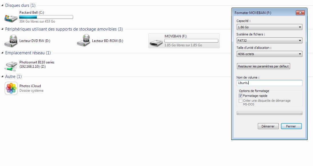 Formatage clé USB