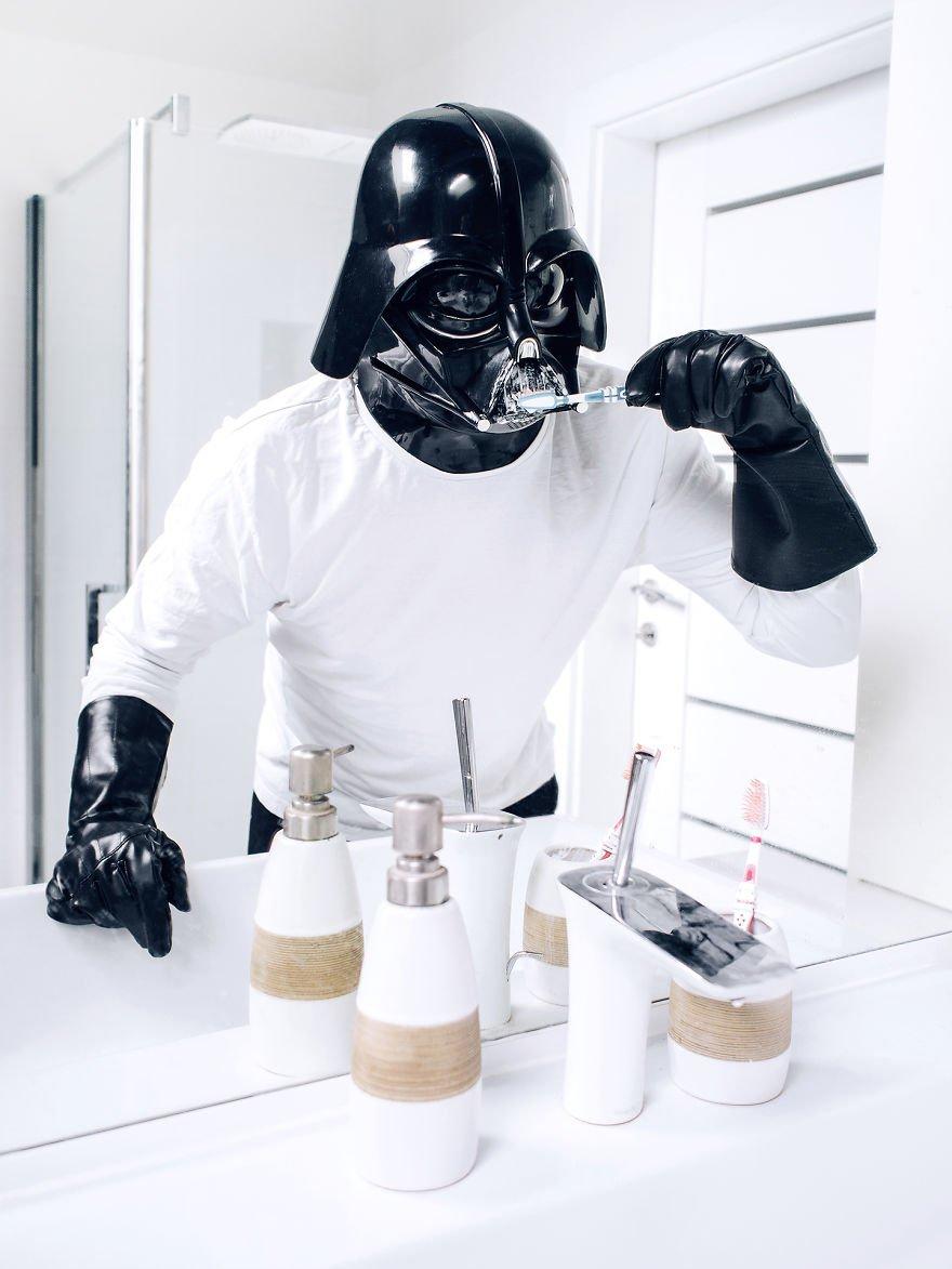 Dark Vador se lave les dents