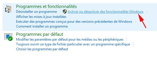 Activez ou désactiver des fonctionnalités Windows