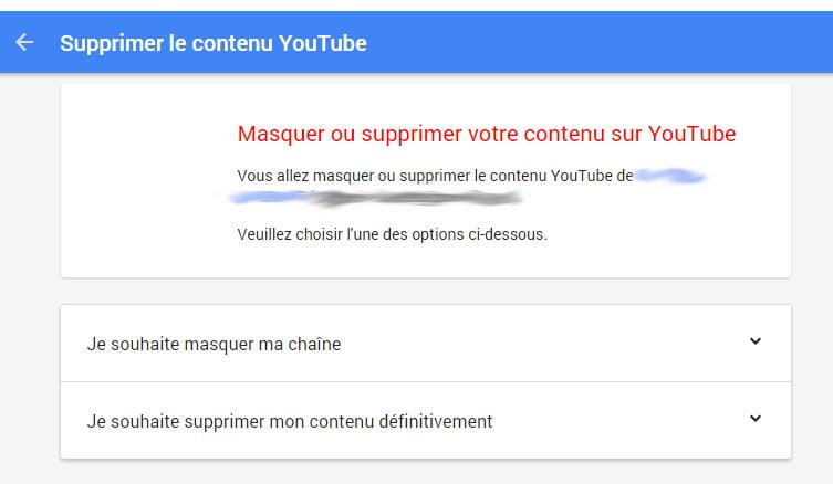 Supprimer sa chaîne Youtube