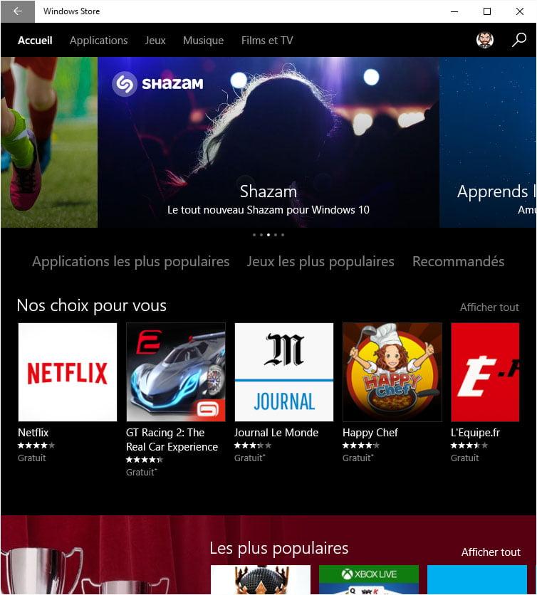 Windows Store thème sombre