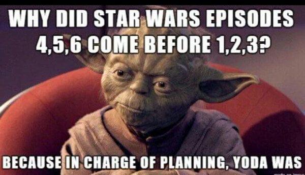 Ordre episodes Star Wars selon Yoda