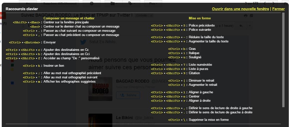 liste de tous les raccourcis utilisables dans Gmail