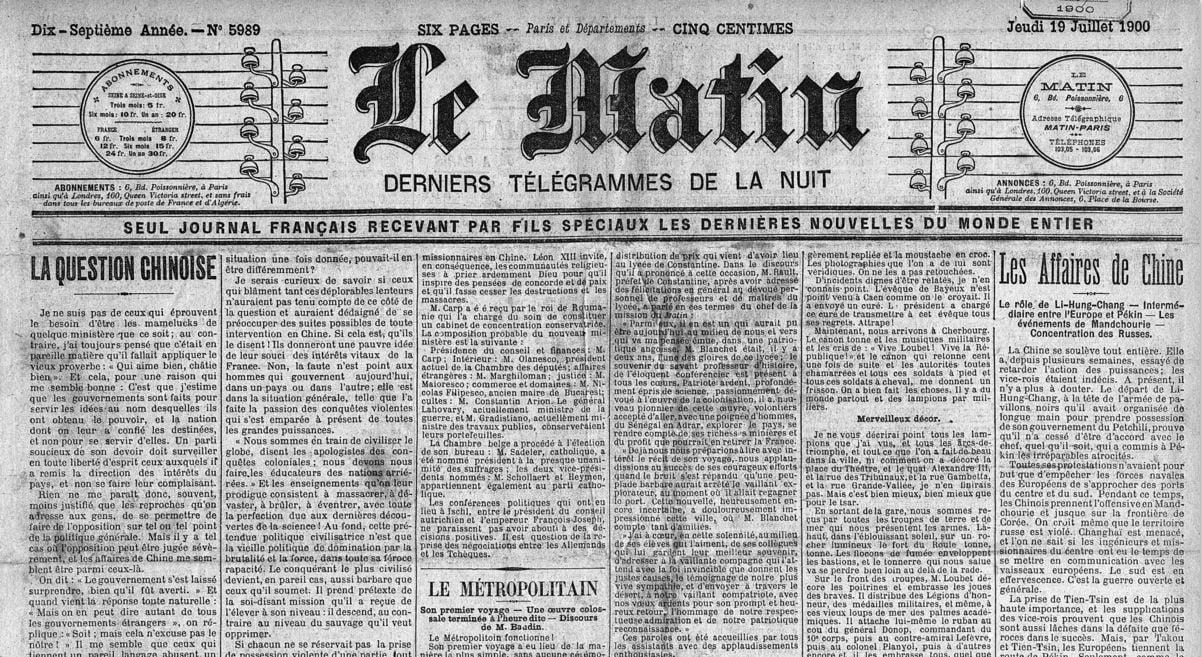 """""""Le Matin"""" - Edition du jeudi 19 juillet 1900, Inauguration de la première ligne du Métropolitain de Paris"""
