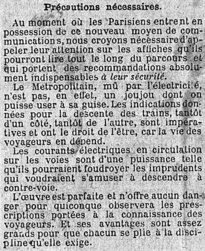 Les recommandations du journal Le Matin pour les premiers usagers de la première ligne du Métropolitain (Vincennes - Porte Maillot) - 19 juillet 1900