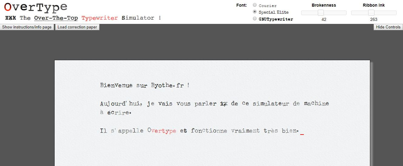 overtype simulation machine a ecrire