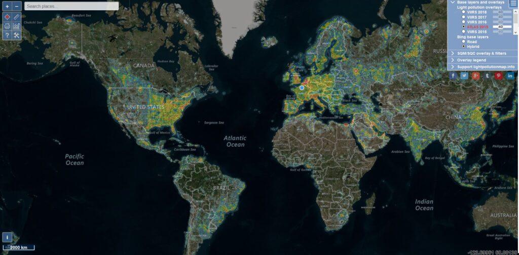 light pollution map pollution lumineuse monde