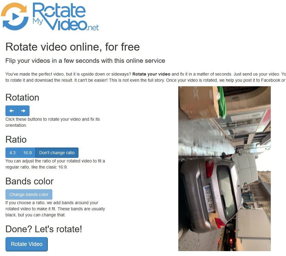 rotate my video pivoter video options