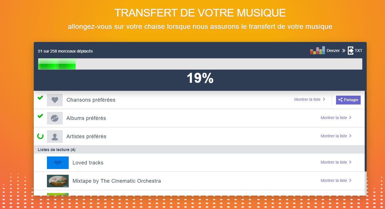 TuneMyMusic exporter playlist streaming transfert