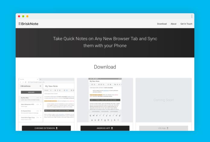 brisknote note navigateur application mobile