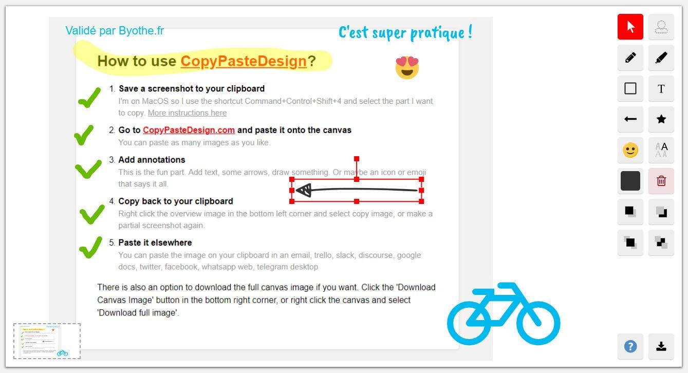 copypastedesign annoter dessiner capture ecran