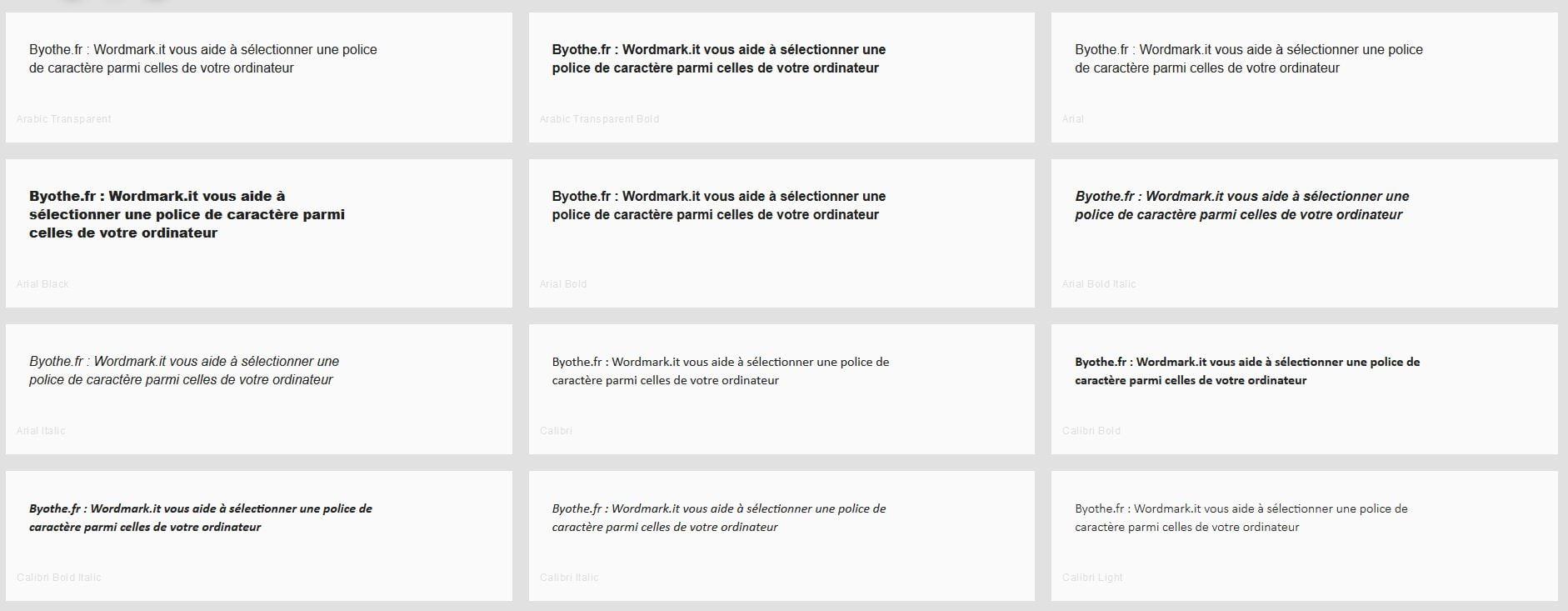 wordmarkit comparer police caractere font