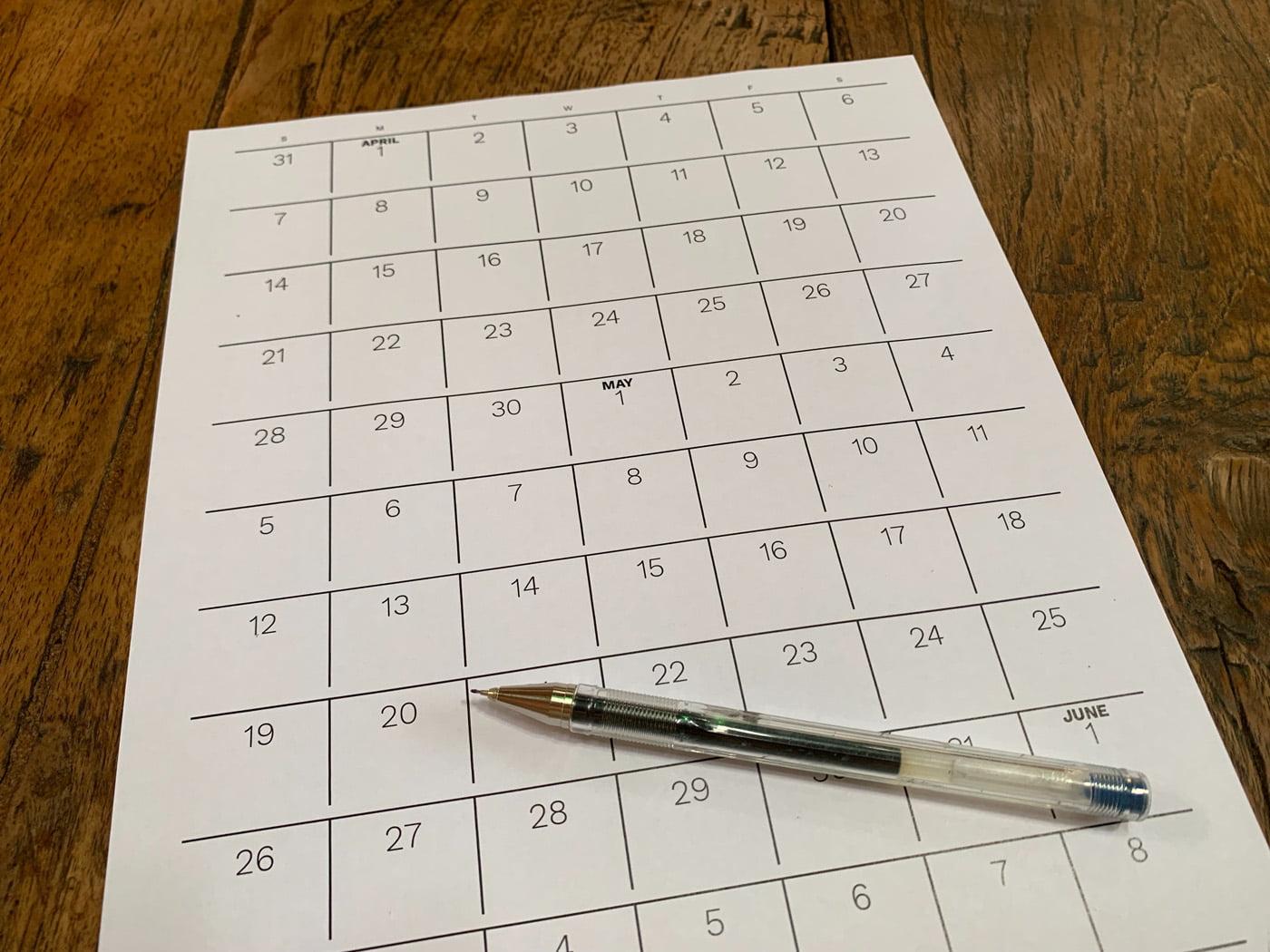 calendar generator calendrier imprime