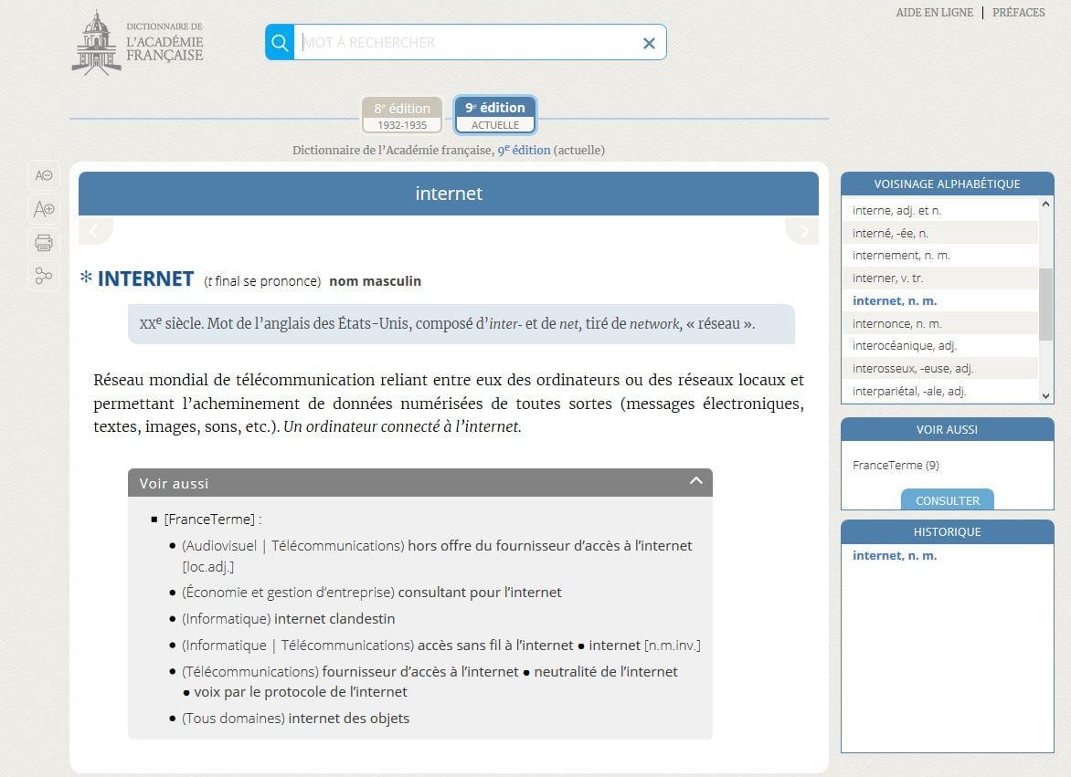 dictionnaire academie francaise mot internet