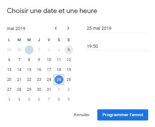 gmail programmer envoi date heure