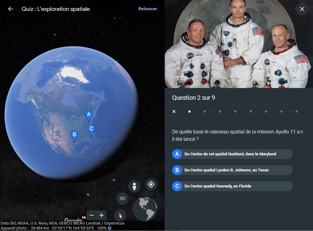google earth espace quiz