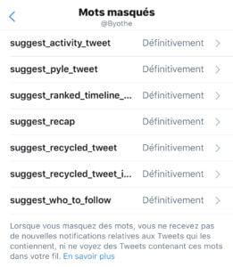 mots masques twitter liste mobile
