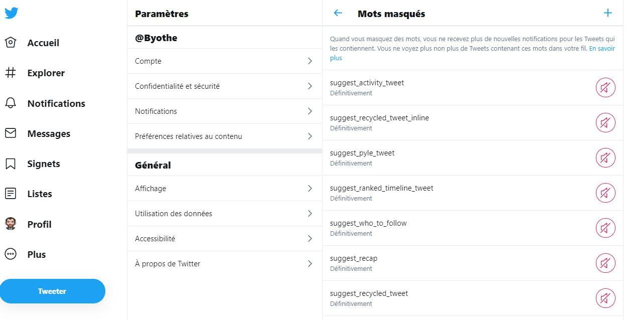 mots masques twitter liste