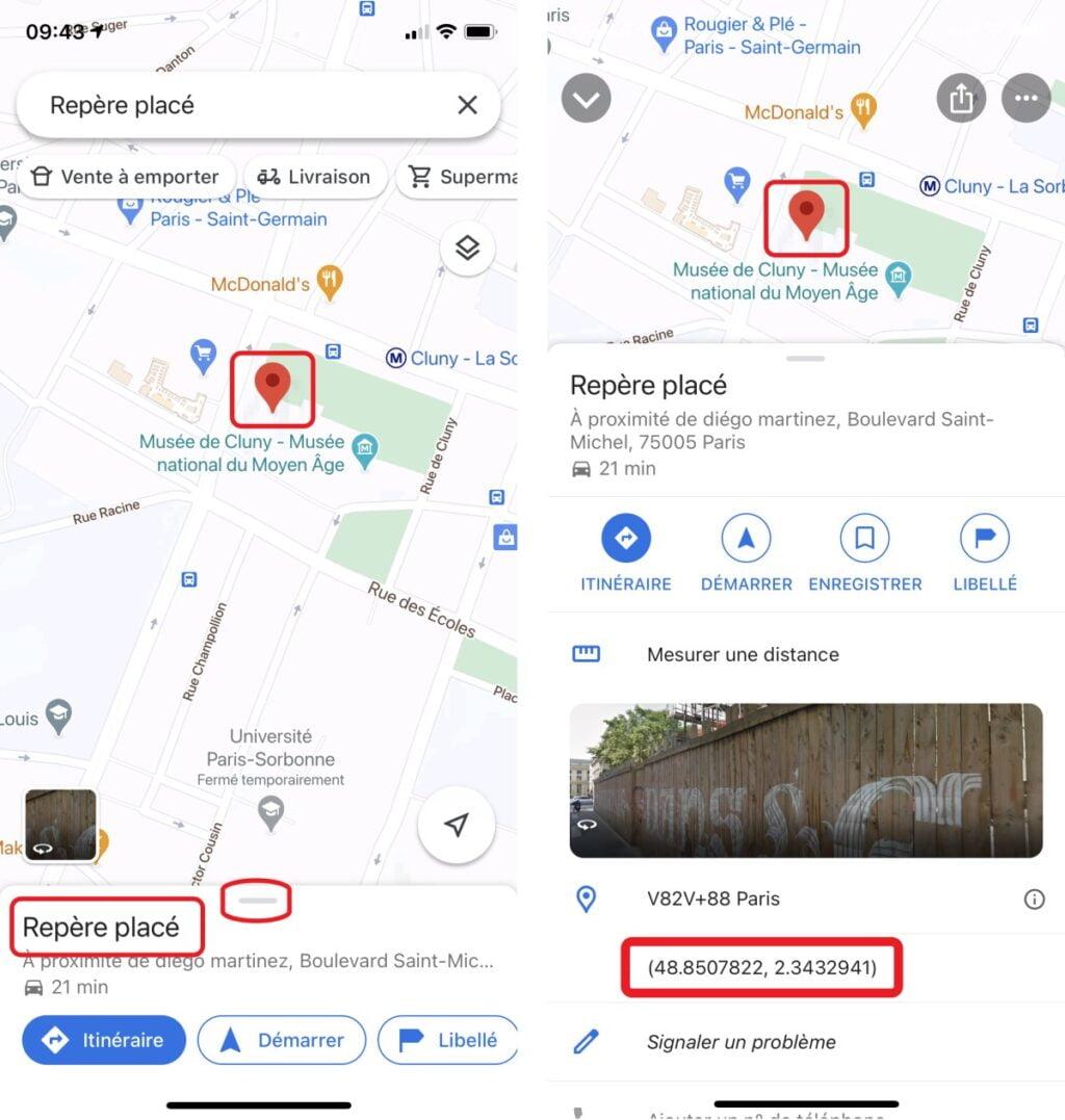google maps coordonnees app mobile