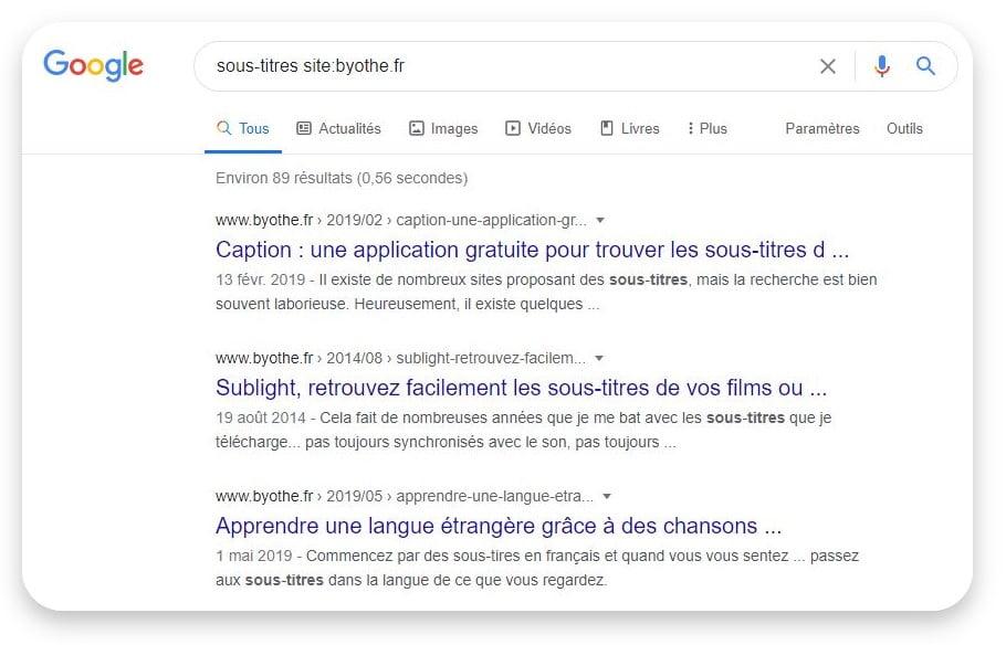 recherche site web google sous titres