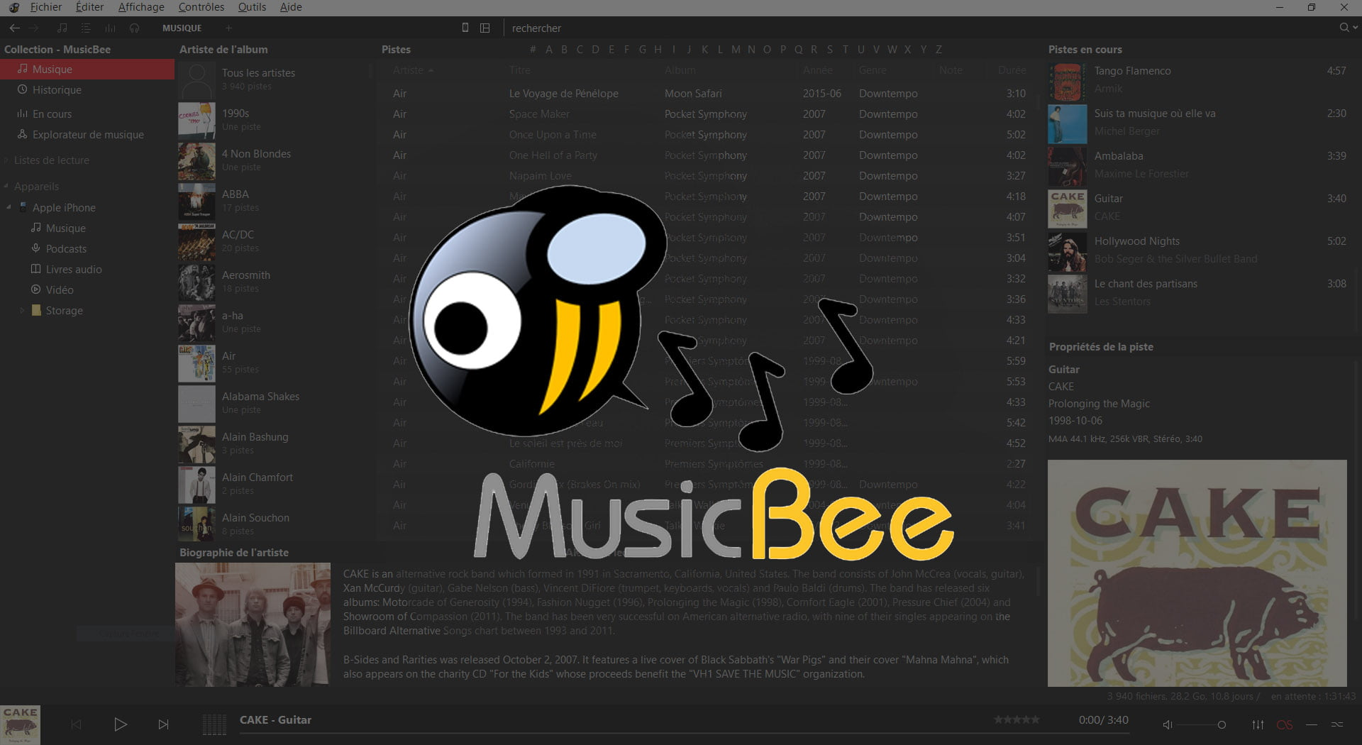 musicbee synchronisation iphone