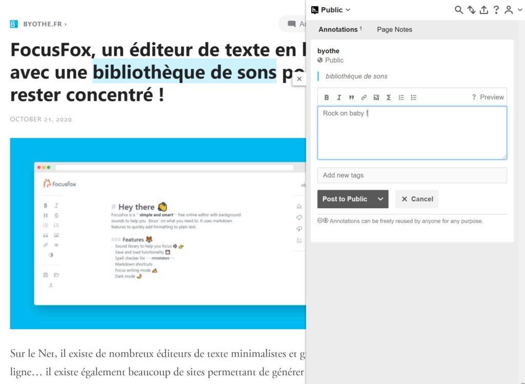 outline annotation texte