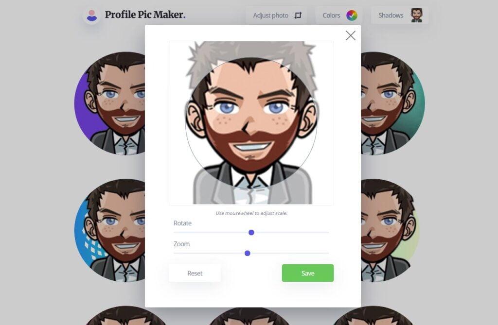 profil pic maker ajustement