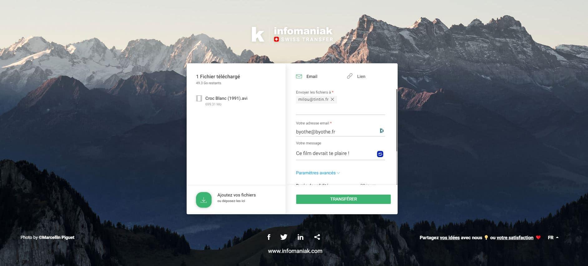 swisstransfer partage gros fichiers