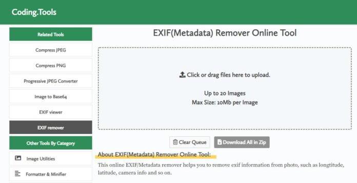 exif remover metadonnees home