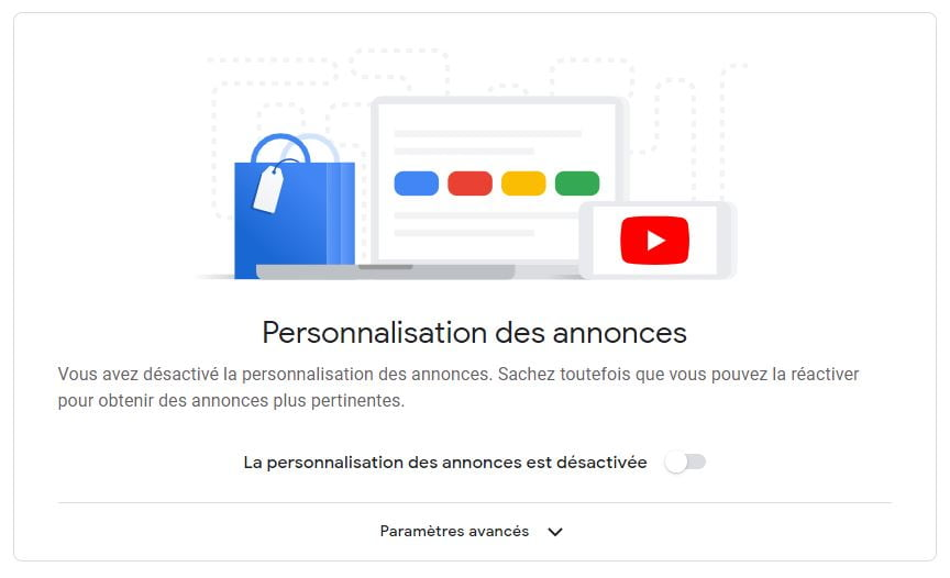 google personnalisation annonces