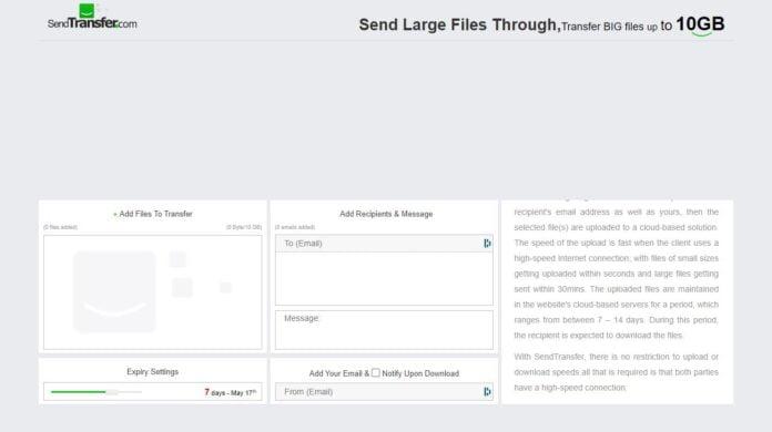 sendtransfer partage fichier volumineux