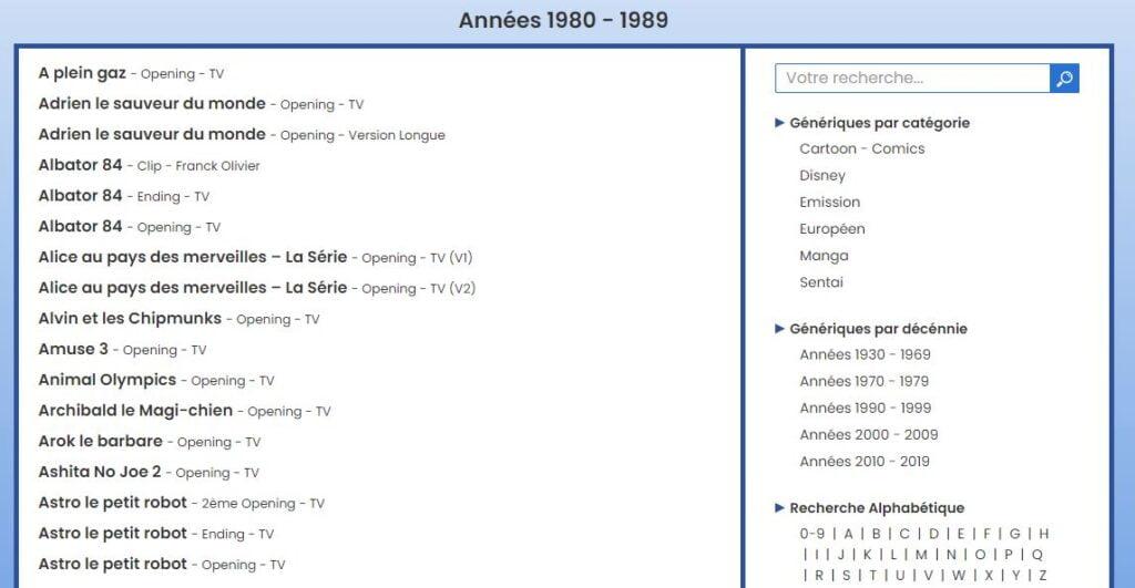 generique anime liste 1980