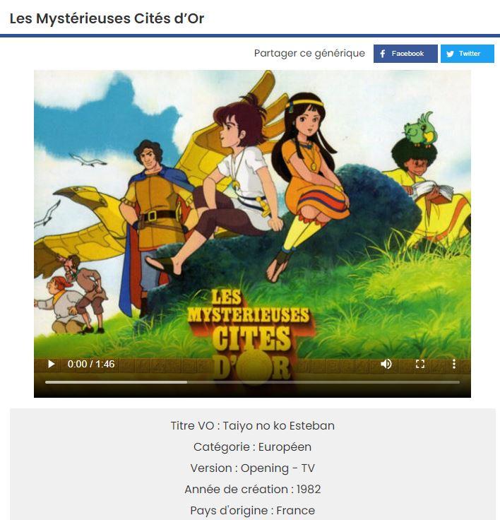 generiques animes mysterieuse cite or