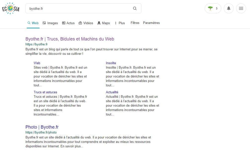 moteur recherche ecosia
