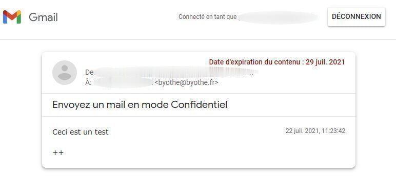 mode confidentiel gmail mail serveur