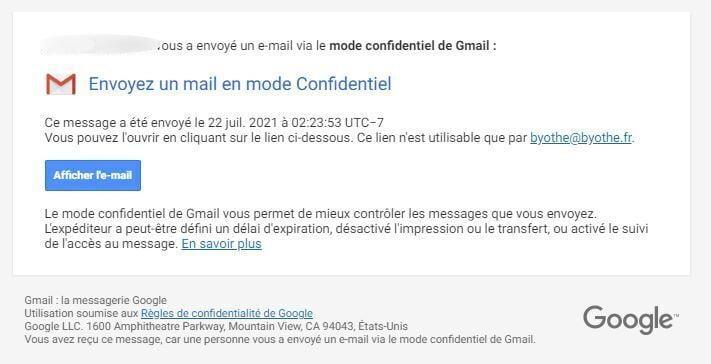 mode confidentiel gmail mail